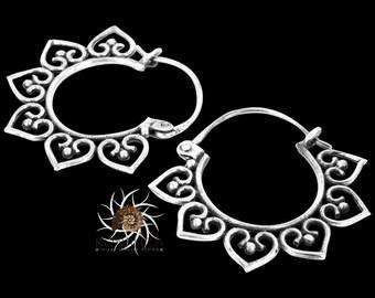 Silver Earrings - Silver Hoops - Gypsy Earrings - Tribal Earrings - Ethnic Earrings - Indian Earrings - Ttibal Hoops - Indian Hoops (ES72)