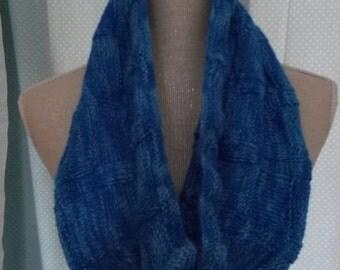 Luxury Blue Cowl in  100% llama wool