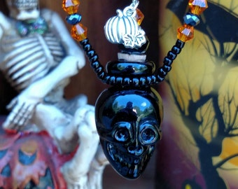 Essential Oil Skull Bottle Necklace,Day of the Dead Skull Poison Bottle Necklace, Black Skull Necklace, Skull Perfume Bottle Necklace,