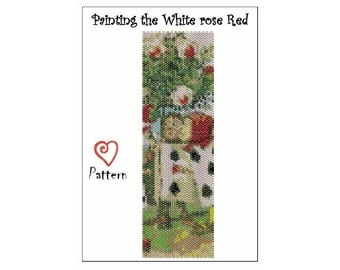 PDF Beaded Peyote Bracelet Cuff Pattern Download - Painting the white roses Red - Alice in Wonderland series