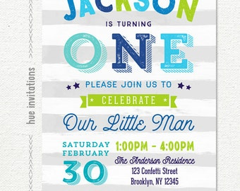 ONE 1st birthday invitation for baby boy, lime green blue aqua and gray stripes, our little man turning one birthday digital invitation