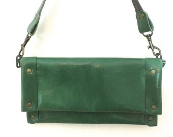 Kelly Green Leather Clutch