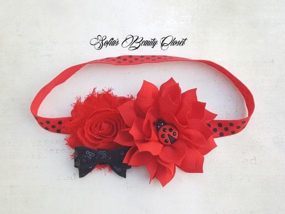 Knitting Ladybug Ladybird Headband : Ladybug headband birthday lady bug