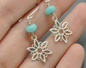 Sterling Silver Snowflake Earrings, Blue stone earrings, Amazonite earrings, Dangle earrings