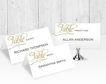 DIY Place card| Wedding place cards| Templates| Printable| Editable color & Text| FEPC| T42