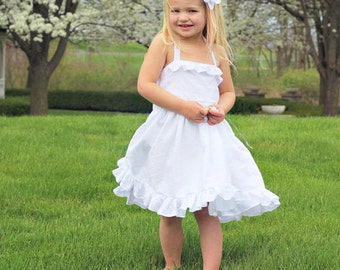 White Flower Girl Dress- Halter Top - Flower Girl - Summer Toddler