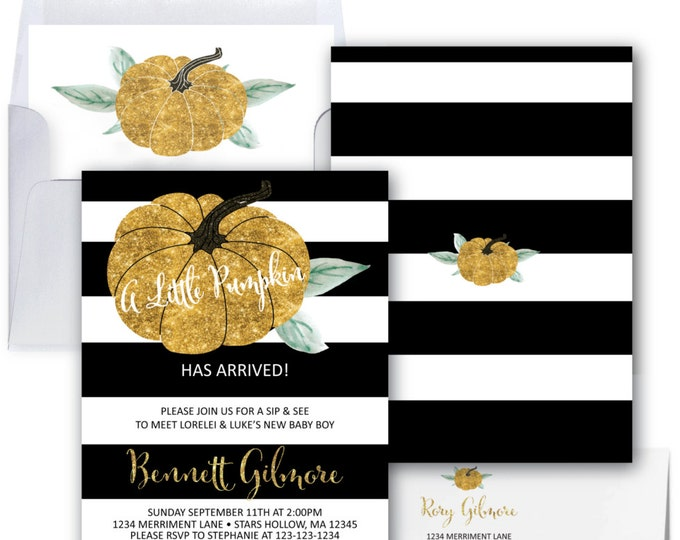 Pumpkin Sip and See Invitation // Gold Glitter // Little Pumpkin // Black and White // Baby Shower // Stripes // STARS HOLLOW COLLECTION