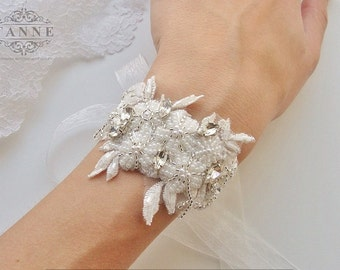 Beaded Bridal Lace Cuff Bracelet with Rhinestones, Pearls, Vintage Style Wedding Cuff Bracelet, Floral Wrist Corsage Bracelet, Ivory Lace