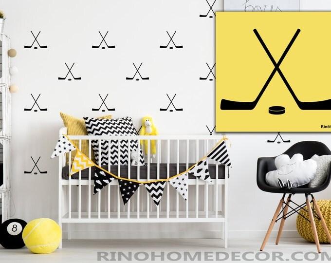 Hockey cross sticks pattern Vinyl Wall decal  (Pack of 20)  boy bedroom sticker wall art - wall paper effect - hockey puck decals