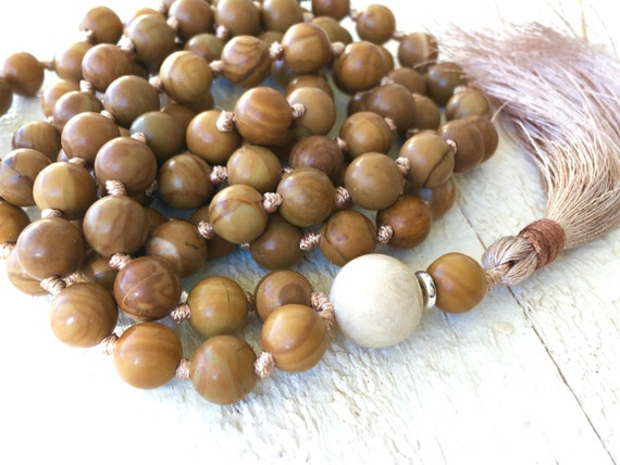 Natural Jasper Mala Beads, Silk Tassel Necklace,  Long Knotted Tassel Mala, River Stone Mala, Yoga Meditation Beads, Bohemian Necklace