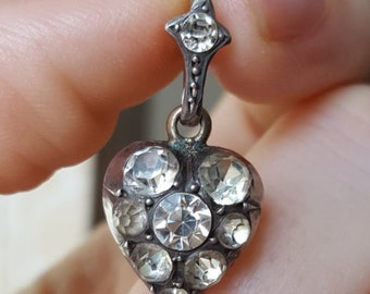 Stunning Georgian Sterling Silver Paste Heart Pendant circa. 1800s
