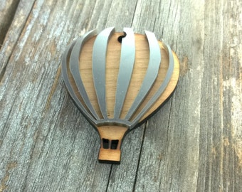 Laser cut wood and acrylic hot air balloon necklace