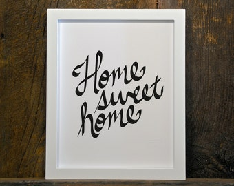 HOME SWEET HOME, quote, nursery, home, black & white, instant download, wall art, printable, print