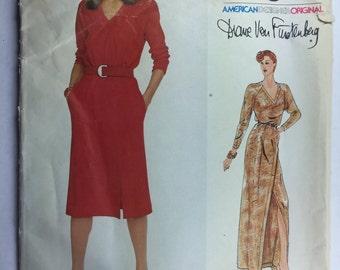 1980's Vintage, Diane Von Furstenberg, Vogue 2341, Misses' Pullover Dress, with Blouson Bodice Pattern size 10 uncut