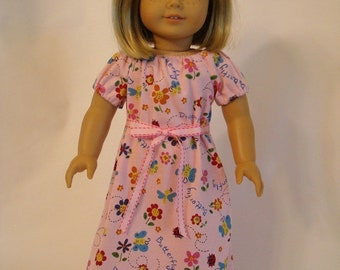 Butterfly & Dragonfly Nightgown for American Girl Doll and 18-inch Doll - Flowery Pink Knit Doll Nightgown