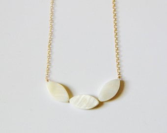 Mother of Pearl Trio Necklace in Gold Fill or Sterling Silver  (No Ordinary Love Handmade)