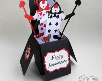 Alice in Wonderland Anniversary Card Pop Up 3-D Box Playing Cards Design