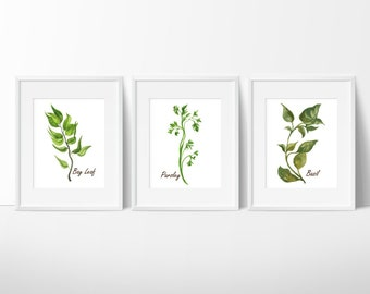 Watercolor Herbs Prints - Herbs Kitchen Decor - Botanical Print - Kitchen Art - Culinary Herb Print - Kitchen Decor - Instant Download 8x10