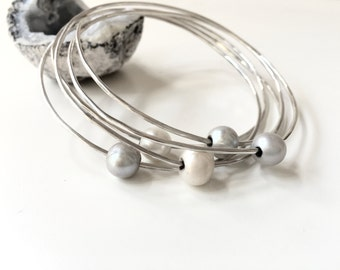 Sterling Silver Bangle Set of (6) - Six 8mm Freshwater Gray and White Pearls on Six Interlocking Bangles