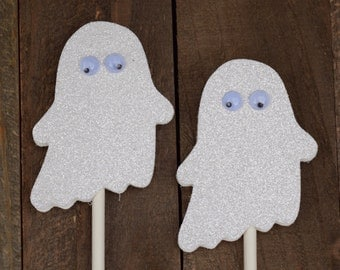 Ghost Cupcake Toppers, Glitter Ghost Cupcake Toppers, Halloween Cupcake Toppers, Halloween Party Cupcake Toppers