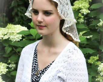 Evintage Veils~ Princess Style Sacre-Coeur Traditional Catholic Ivory Chantilly Lace  Mantilla Chapel Veil