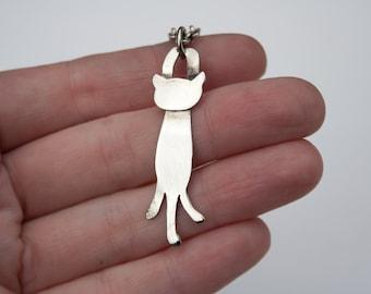 Cute Cat pendant. Sterling silver cat jewelry. Fine silver kitten pendant. Ooak cat desingn jewelry. Animals jewelry