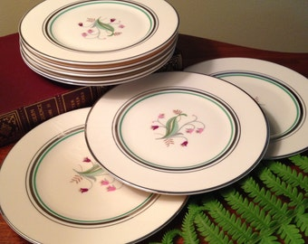 Eight vintage Old Ivory by Syracuse china bread and butter plates - Coralbel pattern