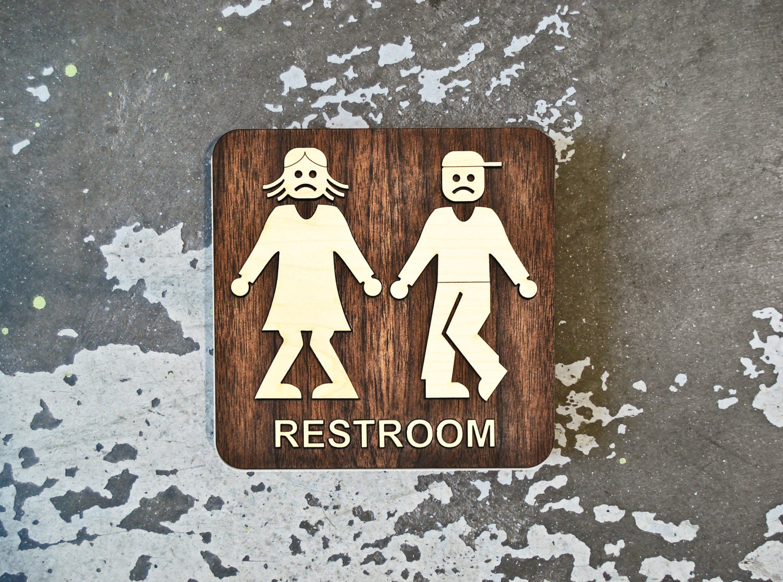 quadratische männlich weiblich bad sign lustige wc signage, Hause ideen