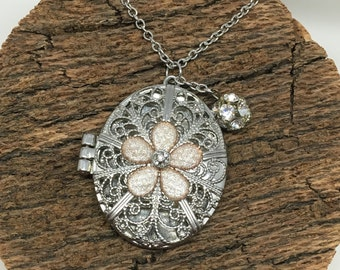 Silver Jewel Flower Locket Pendant Necklace with Charm