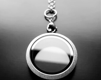 Silver Sparkle Floating Locket-30mm-Twist On/Off Face-Stainless Steel-Option to Add Chain-Gift Idea for Women