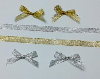 5 yds, taffeta ribbons, gold metallic ribbons, silver metallic ribbons, shiny ribbons, gift ribbons