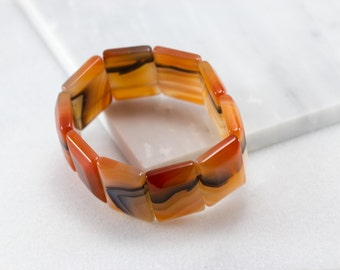 Square Agate Bracelet/ Agate Stretch Bracelet/ Agate Cabochon Bracelet/ Square Stretch Bracelet/ Agate Elastic Bracelet