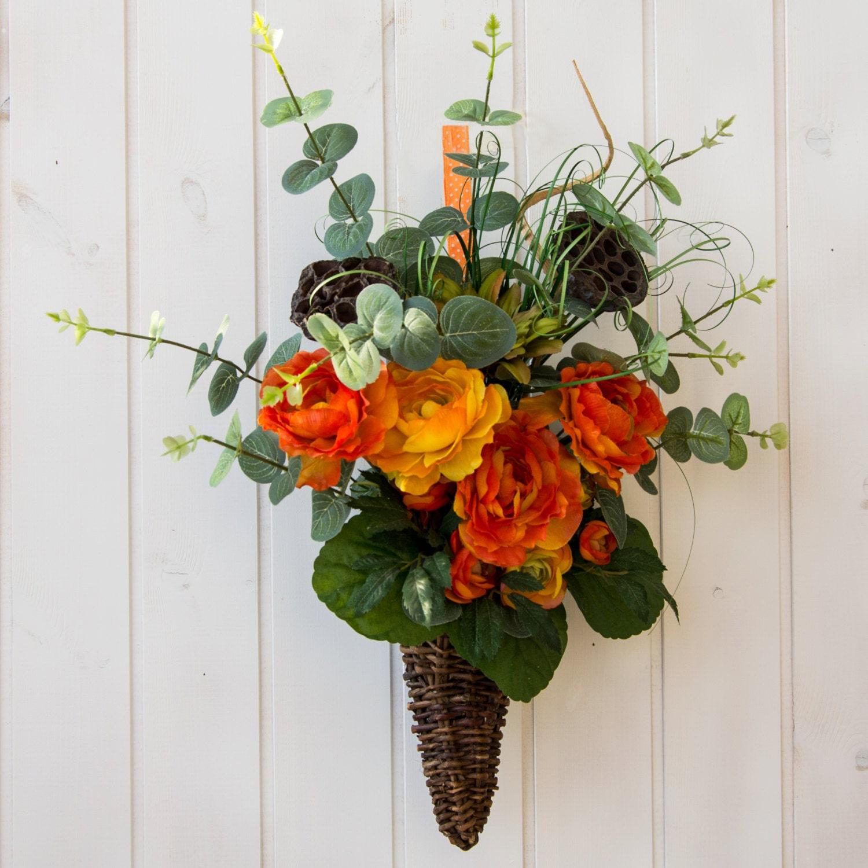 Flowers For Front Door: Flower Front Door Basket Colorful Flower Porch By Ghirlandiamo