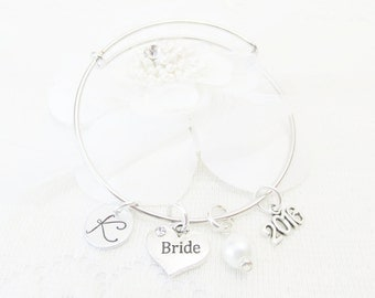 Gifts For Bride's, Silver Initial Adjustable Bangle Bracelet, Bridal Shower Gifts, Wedding Jewelry, Wedding Bracelet, Gifts For Her