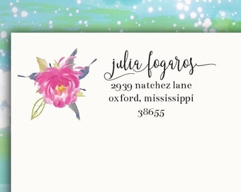 Personalized Address Floral Labels Stickers rectangular coordinating Invitation and - Julia W3