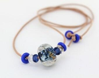 Blue Leather Necklace, Handmade Glass Lampwork Beads Necklace, Cobalt Blue Necklace, Adjustable Necklace, Bead Leather Necklace