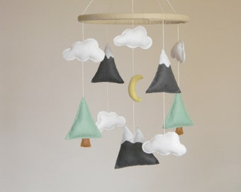 Mountains Baby Mobile, Baby Crib Mobile, Modern Nursery mobile, Felt Mountains and Tree, Mountain nursery decor, Cloud Cot Mobile, Mint Gray
