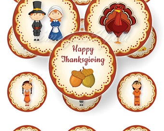 """Printable Thanksgiving digital toppers cupcake collage sheet 2 inch circles DIY Party Props, 2.25"""", 2.5"""" round download 2"""" bottle cap images"""