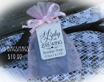 tea party baby shower favor a baby is brewing baby shower favor tea baby