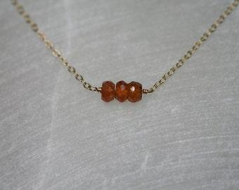 Tiny Orange Garnet Necklace / Sterling Silver, Gold, Choker, Three Wishes, Delicate, Hessonite, Minimal, Gemstone, Spessartite, 3, Layering