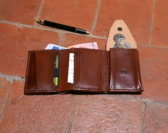 Mens Wallet - trifold Leather wallet - Leather coin purse - Leather card holder- Handmade and Hand stitched Italian Leather by Claudio