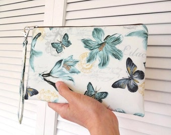 iPad mini Zipper Wristlet, Zipper Pouch, Bridesmaid Gift, Wristlet Clutch, Cosmetic Bag, Makeup Bag - Lily, Butterfly, Floral, Green, Cream