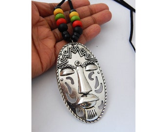 Mens Tribal Necklace African Rasta Mask Necklace African Jewelry Large Antique Silver Face Pendant
