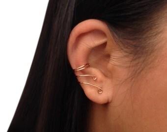 Copper Ear Cuff, Cartilage Earring, Simple No Piercing Earcuffs