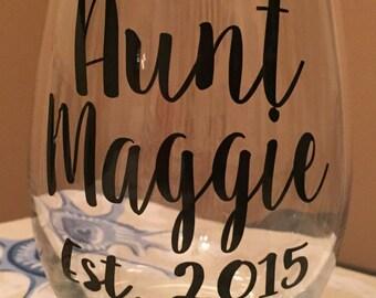 Aunt Established Wine Glass, 20oz Stem or 21oz Stemless