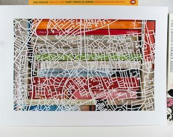 Camberwell London Handmade Paper Map Cut (A4)