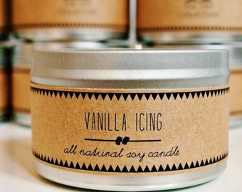 VANILLA ICING Soy Candle. Natural Candle. Scented Candle. Eco Friendly. Vegan Friendly. Gift for Him. Gift for Her.