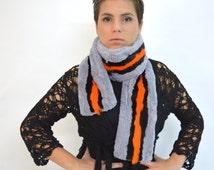 Real fur scarf, sheared rex rabbit fur scarf, multicolour fur wrap scarf, extra long infinity scarf. Genuine light blue rex rabbit scarf.
