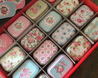 Set 32 Assorted Mini Collectible Tins - Shabby Chic Little Floral Cases - Wedding Favors, Party, Gift Packaging - Sweet, Jewelry, Storage