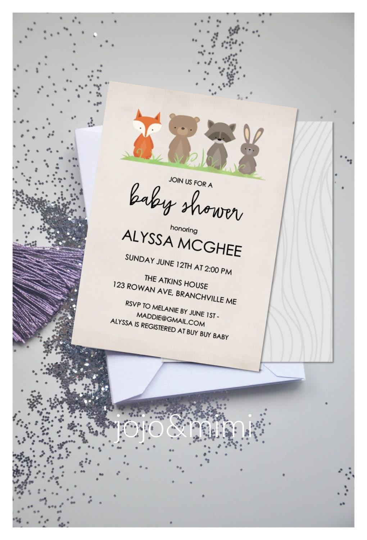 baby shower invitation woodland animal theme printable by jojomimi